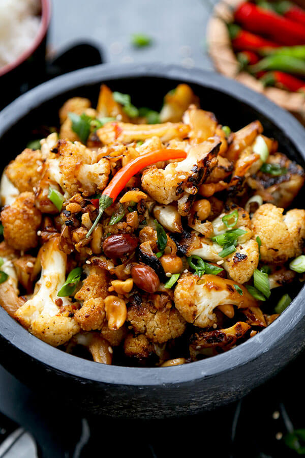 vegan kung pao cauliflower