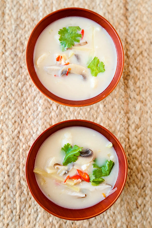 Homemade Thai coconut soup in bowls