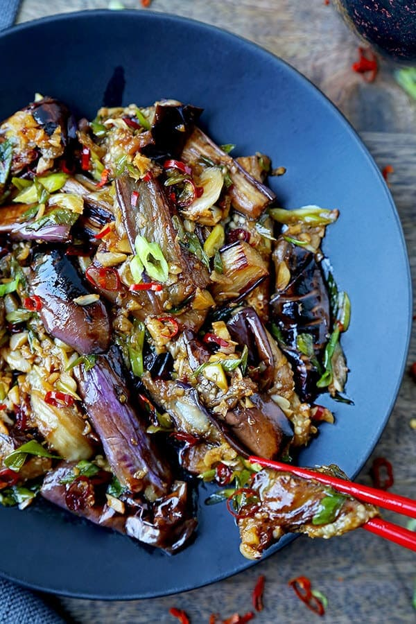Chinese Eggplant With Garlic Sauce - This is a quick and easy dish that's sweet, tangy with a little heat. The eggplant pieces are so tender, they almost melt in your mouth. Ready in 15 minutes from start to finish. Chinese stir fry recipe, Asian vegan recipe, vegan eggplant recipe, vegetable stir fry recipe, Chinese dinner recipes | pickledplum.com