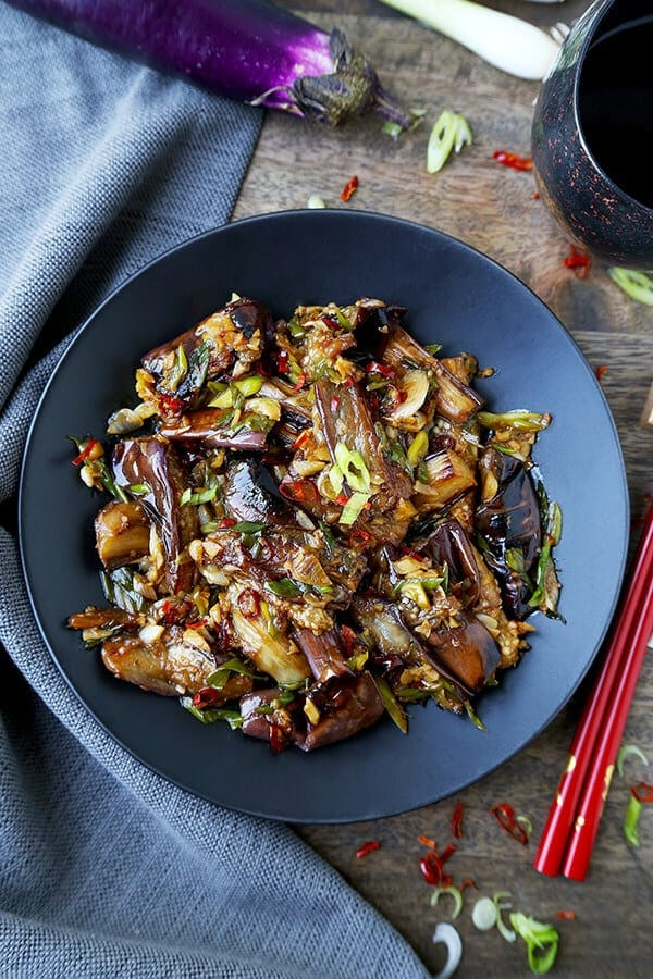 vegan Chinese eggplant with garlic sauce
