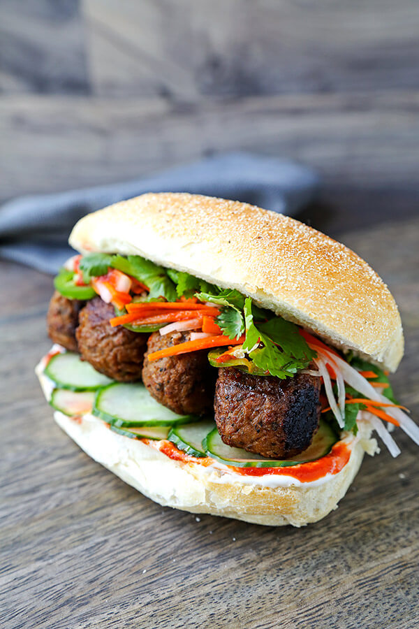 Meatless Meatball Banh Mi Sandwich - This is the ultimate vegetarian Vietnamese banh mi recipe! So yummy it might just better than the real thing! Ready in 25 minutes from start to finish. Vietnamese food recipes, Vegan Vietnamese food recipes, healthy Asian dinner recipes, healthy vegan sandwich | pickledplum.com