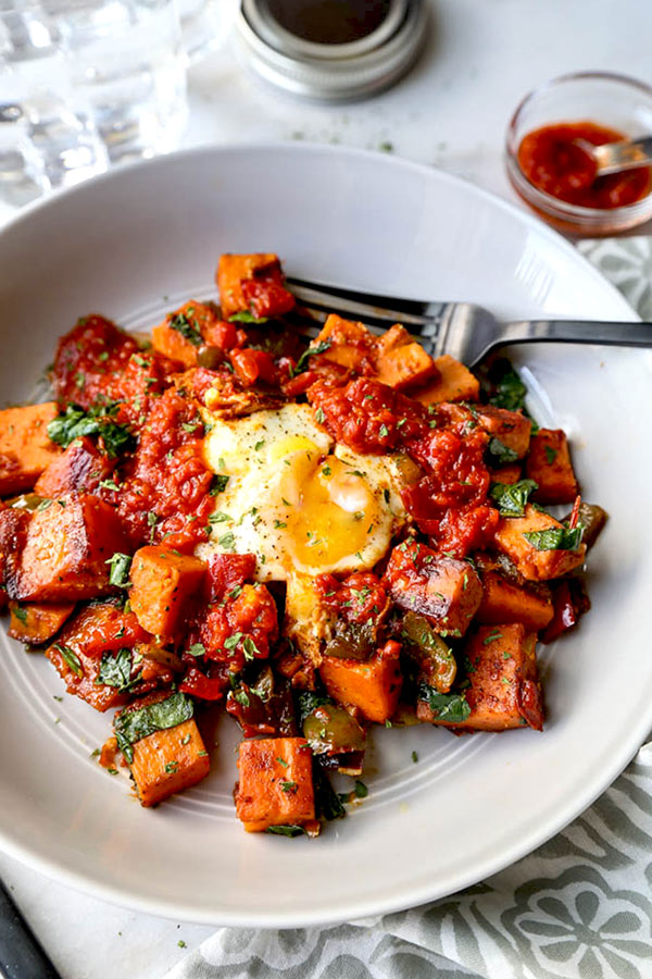 healthy sweet potato recipes harissa sweet potato hash pickled plum food and drinks 30296