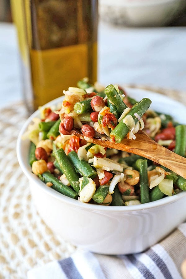 15-Minute Three Bean Salad - This is my go to salad when I want a quick and nutritious salad for lunch or dinner. This easy three bean salad is ready in just under 15 minutes! bean salad recipes easy, bean salad healthy, three bean salad dressing, healthy dinner recipes, healthy gluten free salad | pickledplum.com