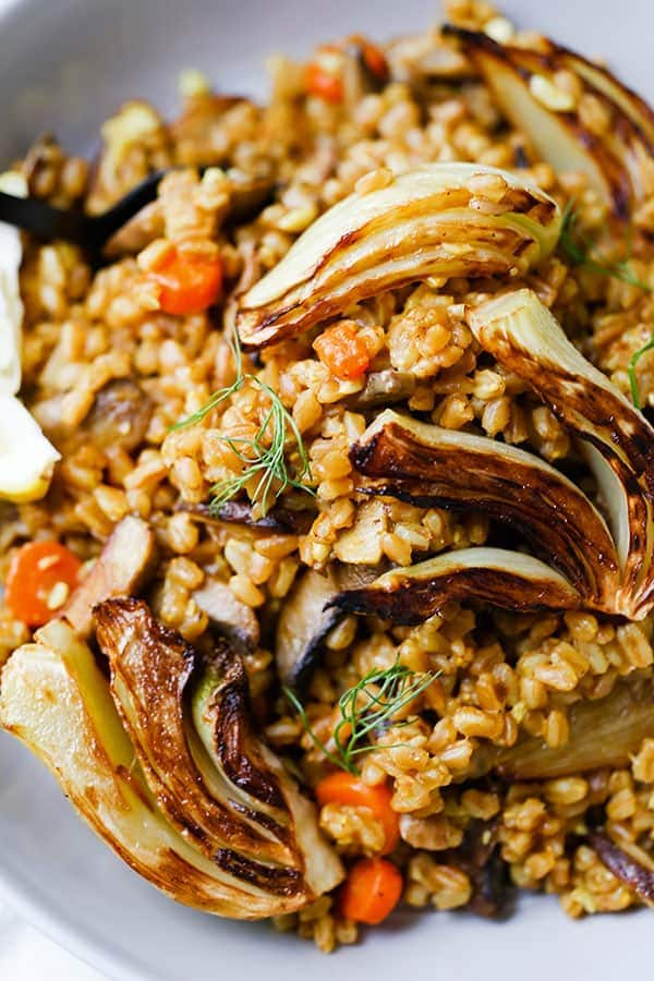 Farro Risotto - This rustic Farro Risotto With Sauteed Mushrooms and Fennel is winter comfort food minus the fat! vegan dinner recipe, plant based, vegetarian healthy recipe, blue zone   pickledplum.com