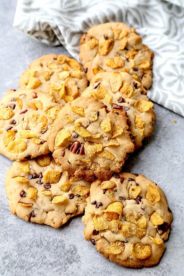 Honey Sweetened Cornflake Cookies - rice flour cookies, sugarless cookies, all natural cookies, healthy cookie recipes, Christmas cookie, Thanksgiving dessert, holiday treat, cookies and milk, chocolate chip cookie recipe | pickledplum.com