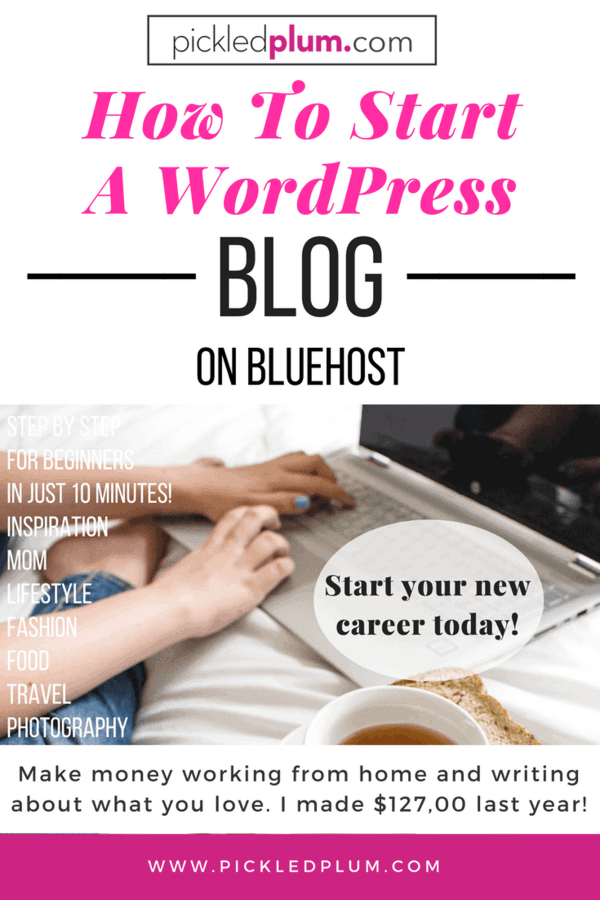 How To Start a WordPress Blog From Scratch - Everyone can make money blogging, I made $127,000 last year! Work and travel around the world making passive income & blog about food, fashion, mom stuff, etc..This is a quick, easy step by step tutorial on creating an account with Bluehost, pick a blog name (domain), start a blog with WordPress with a one click install + how to use the WordPress dashboard in just 10 minutes! + tips & ideas. #howtostartablog #startablog #workfromhome