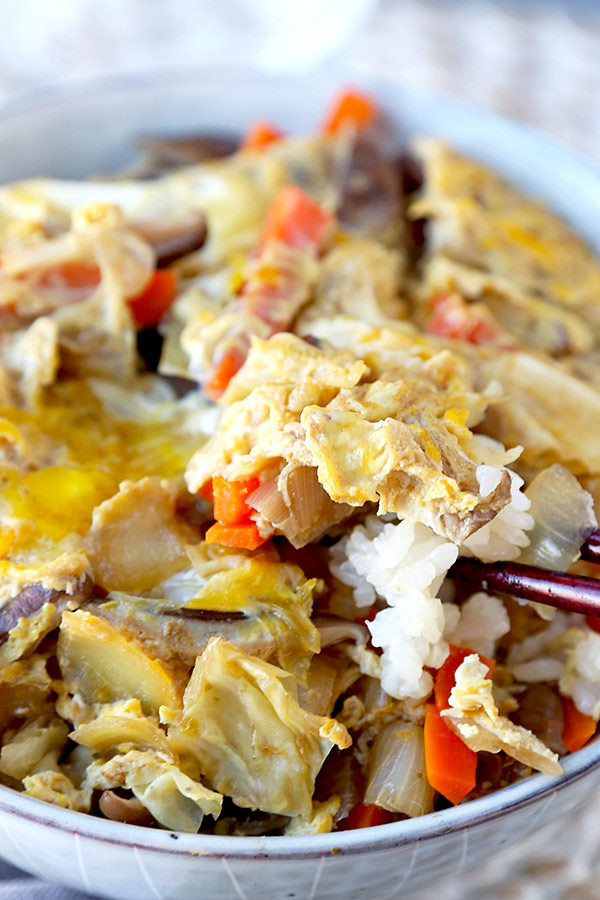 Vegetable Oyakodon - Bring this traditional Japanese dish to your kitchen - minus the chicken! This oyakodon recipe is packed with vegetabes and light enough that you can go for seconds, guilt-free! #japanesefood #healthyrecipes #rice #healthyeating | pickledplum.com