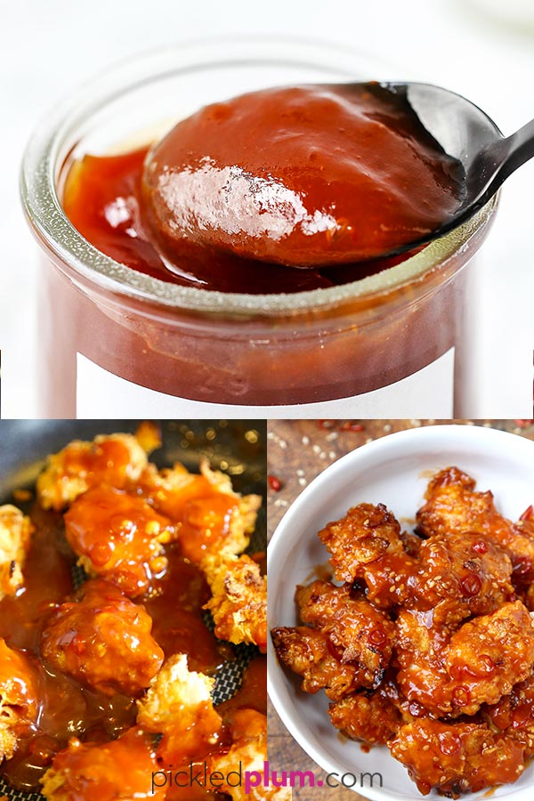 General Tso Sauce - This homemade classic Chinese-American sauce is perfect on Hunan style chicken, tofu and shrimp. This is an easy general tso sauce recipe that can be served sweet or spicy. #chinesefood #easyrecipes #homemade #sauce | pickledplum.com
