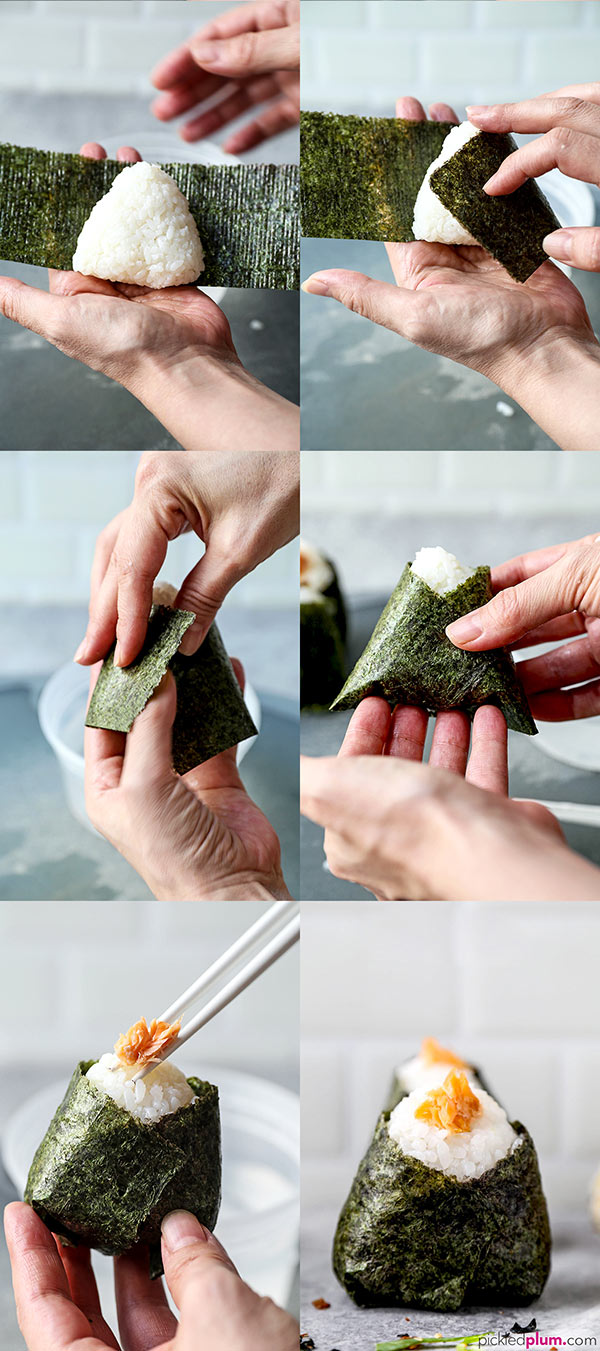 All About Onigiri - おにぎり- (How to Make + 4 Easy Recipes) - Easy fillings for fish lovers and vegans (vegetarians), learn how to make beautiful onigiri. These make a simple and healthy lunch or snack (for kids too). #japanesefood #snacks #healthyrecipes #homemade #rice | pickledplum.com