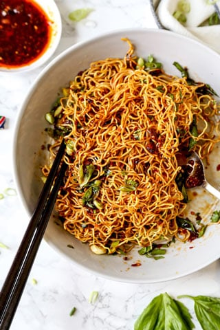 Pan Fried Noodles With Tangy Chili Crisp Sauce Pickled Plum Food And Drinks