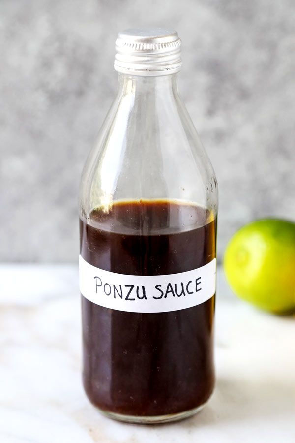 Homemade Ponzu Sauce - This is a simple and delicious recipe for Japanese ponzu sauce. Pair it with fish, chicken, shrimp, tofu, or toss use in a salad or a poke bowl, this is a very versatile citrus sauce! #healthyeating #japanesefood #homemadesauce | pickledplum.com