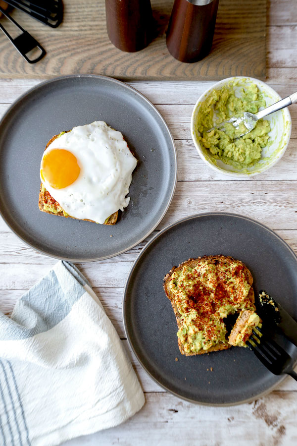 How to make avocado toast - This is a delicious vegan recipe for a smoky avocado toast with miso. Add an egg on top for a more substantial breakfast or lunch! #avocadotoast #breakfast #healthyrecipes #veganrecipe | pickledplum.com