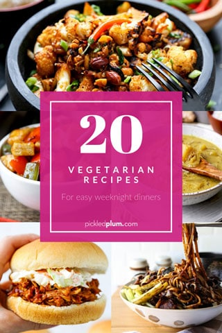 20 Vegetarian Recipe - Looking to lower your intake of meat but aren't too familiar with cooking plant based dishes? Here are 20 of my favorite vegetarian recipes. They are so tasty and satisfying, I promise you won't be missing the meat! #veganrecipes #plantbased #meatlessmeals #meatlessmonday #vegetablerecipes #healthyrecipes #vegetarian | pickledplum.com