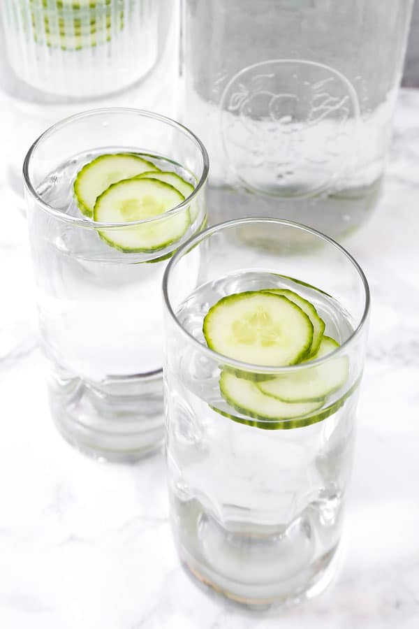 water with cucumber slices