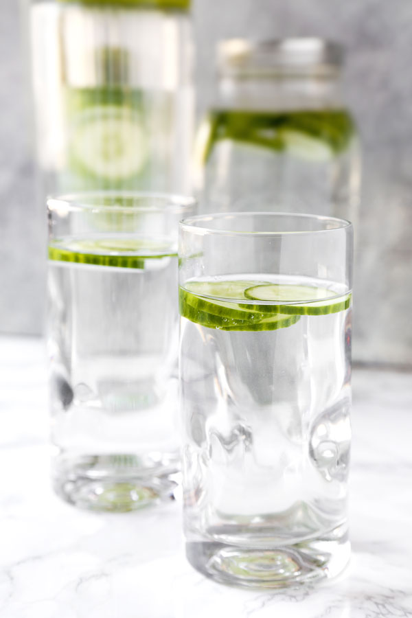 Glass of cucumber water.
