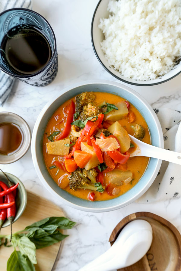 Thai Panang curry with rice and chili peppers