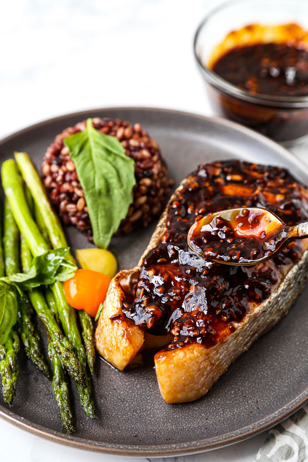 Salmon steak with Szechuan sauce