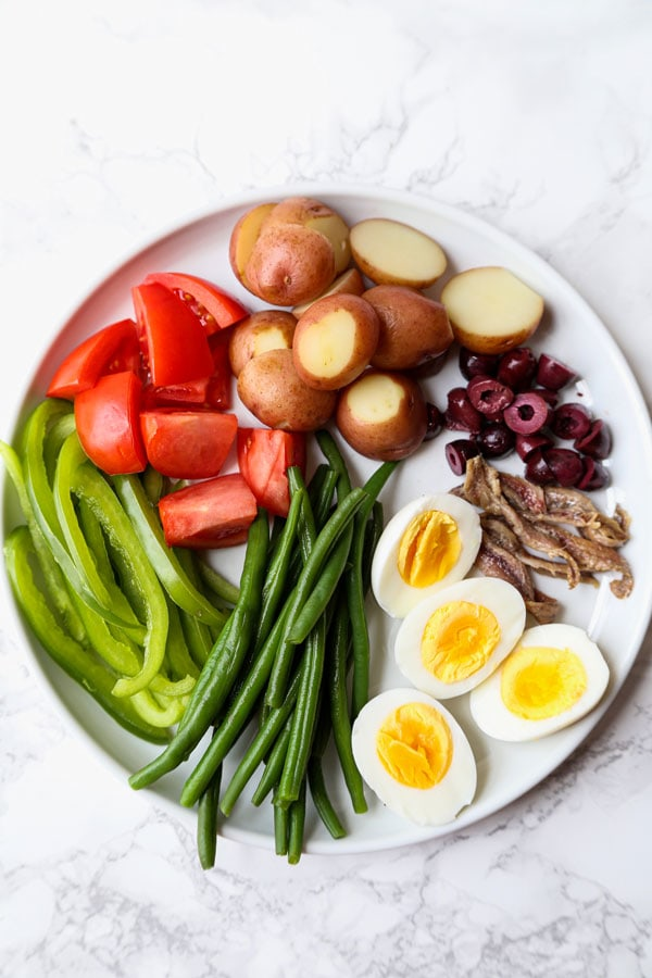 Ingredients for Nicoise salad