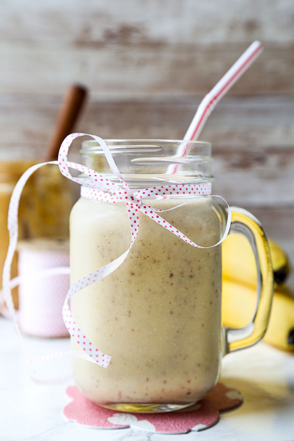 Homemade peanut butter banana smoothie