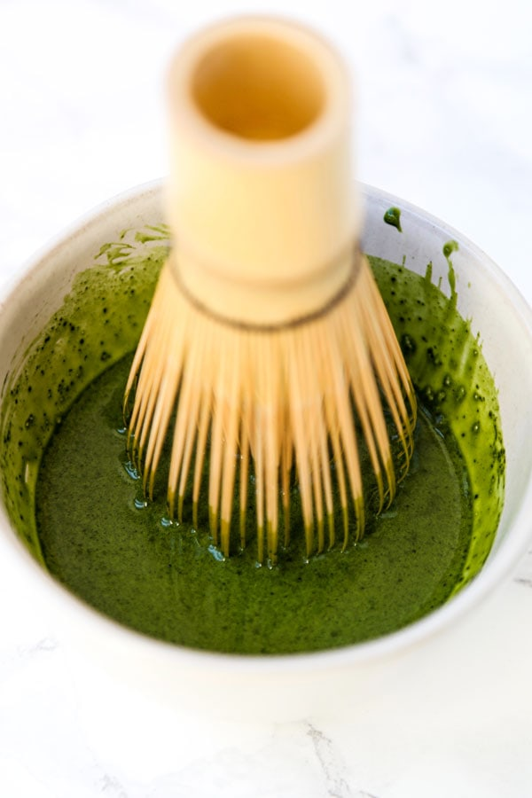 matcha powder with brush