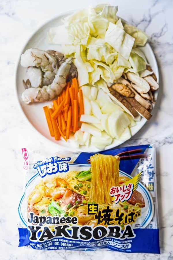 yakisoba noodles package with vegetables and shrimp
