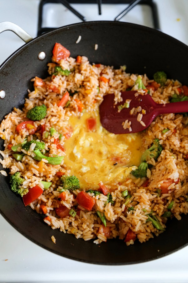 fried rice with egg in the center