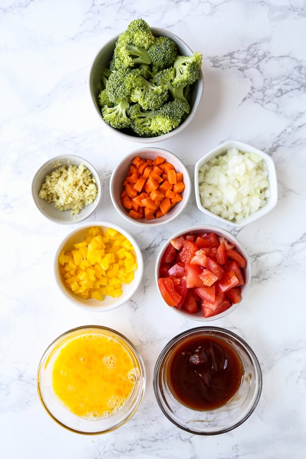 ingredients for vegetable fried rice recipe