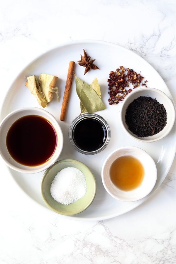Ingredients for Chinese tea eggs