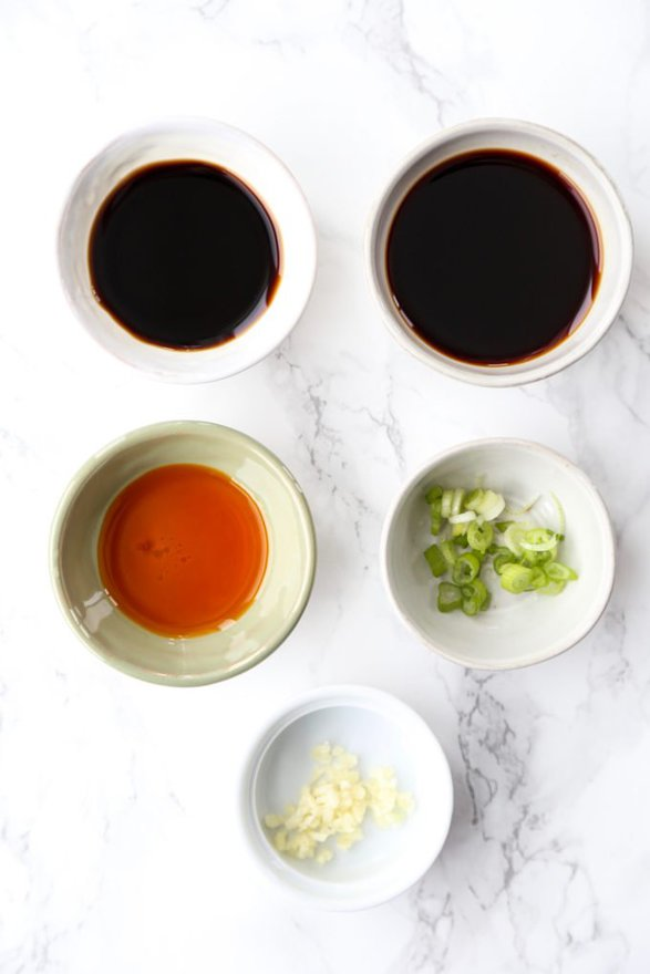 ingredients for Chinese dumpling sauce