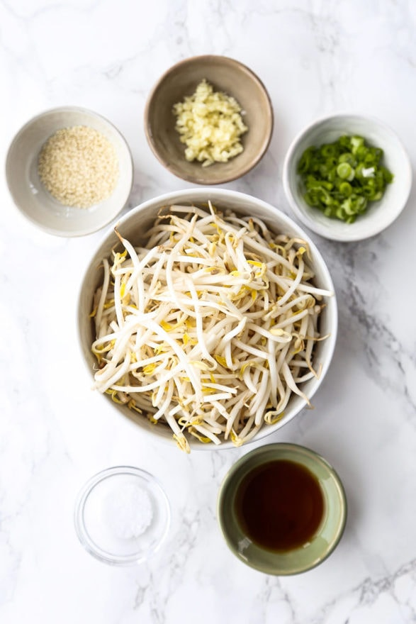 ingredients for Korean Bean Sprouts Salad