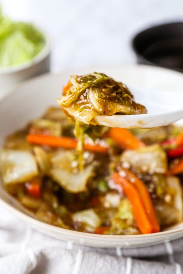Chinese Restaurant Style Stir Fried Napa Cabbage