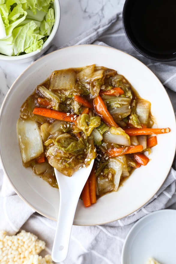 Chinese Restaurant Style Stir Fried Napa Cabbage Pickled Plum Food And Drinks