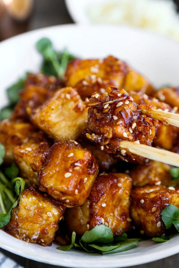 Spicy honey sesame tofu