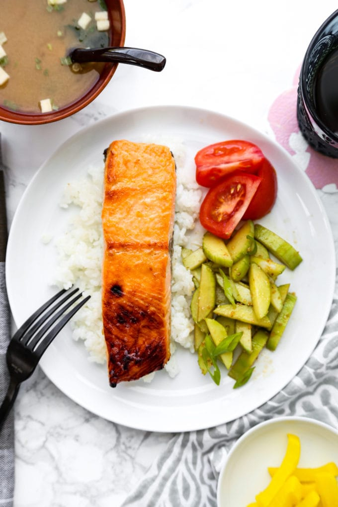 Miso Salmon with rice