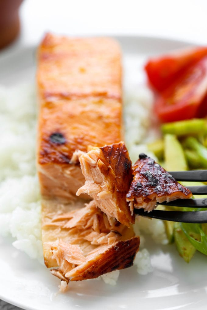 Tender and moist miso salmon