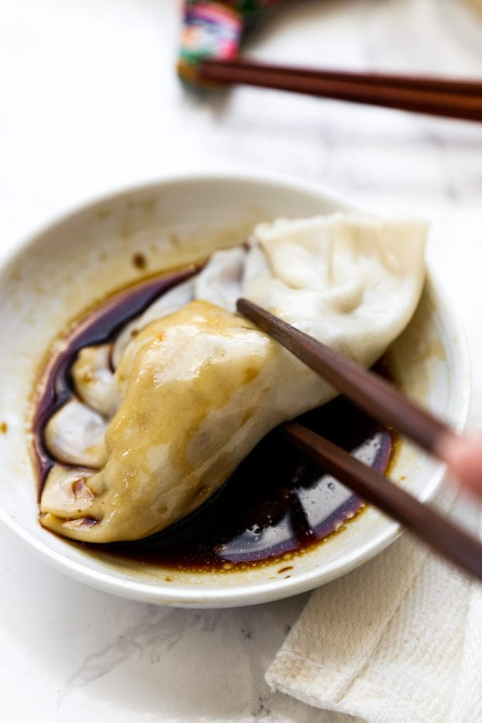 Homemade Chinese Dumplings with soy sauce