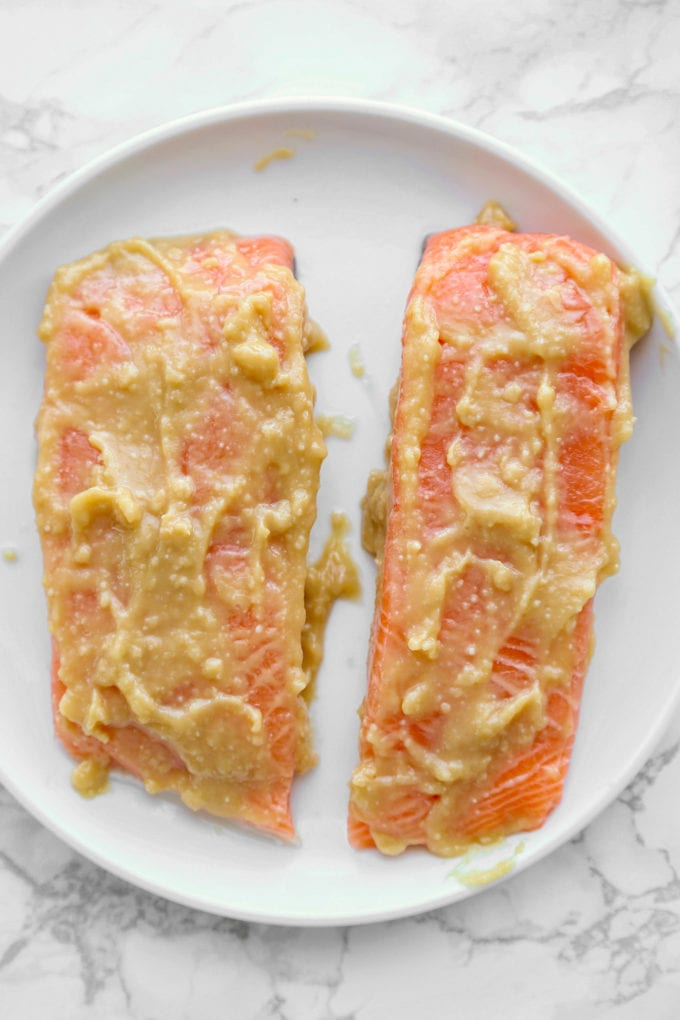 Salmon marinating in miso
