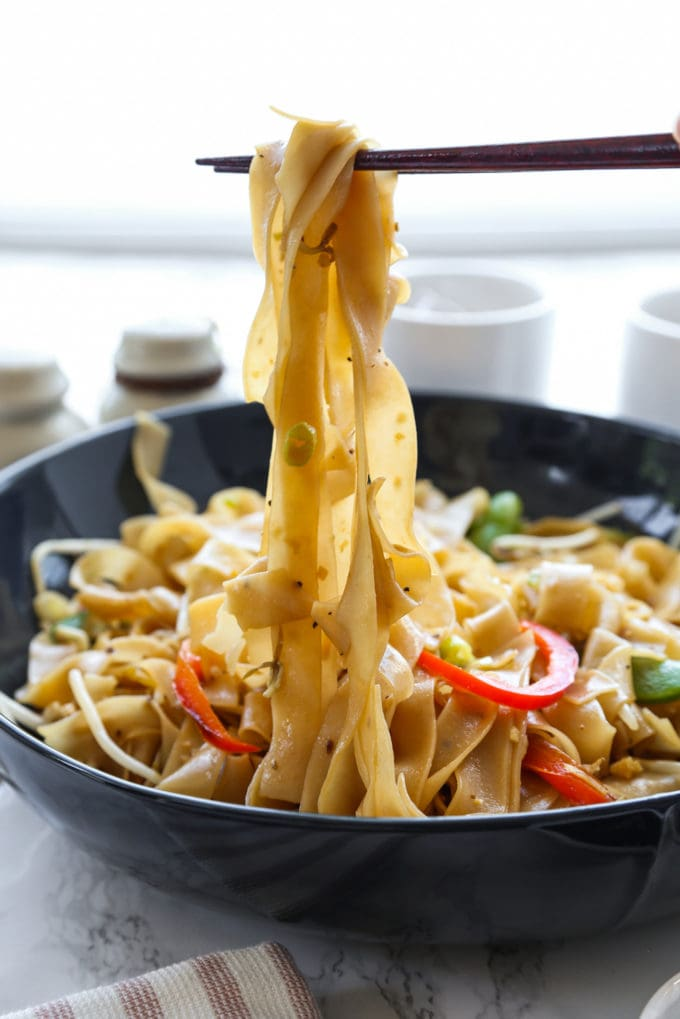 cooked chow fun noodles