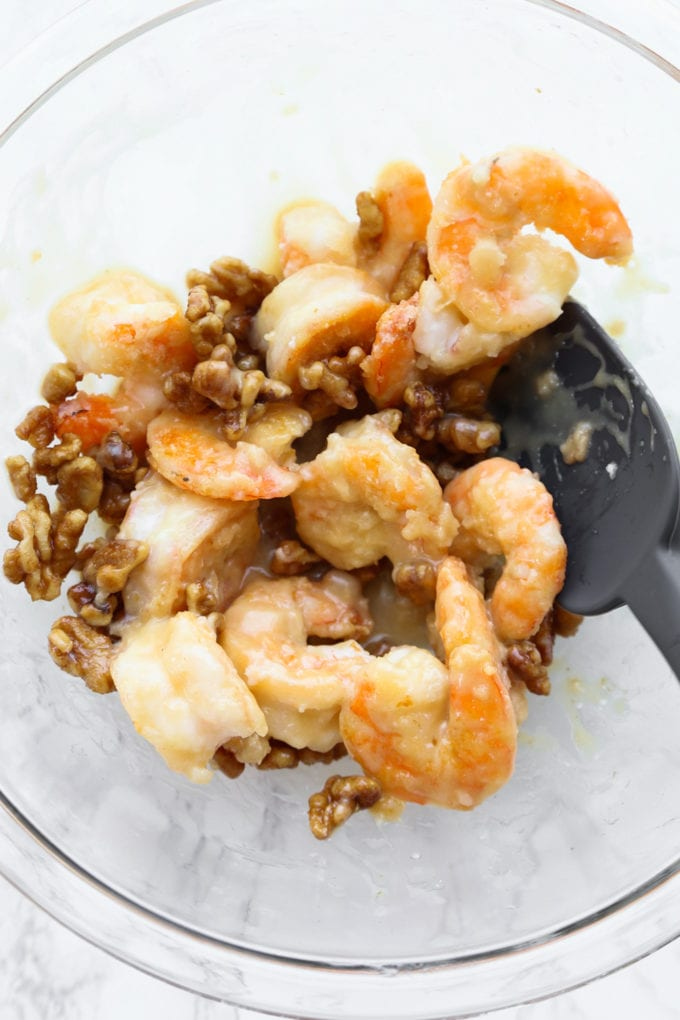 shrimp and walnuts tossed in honey sauce