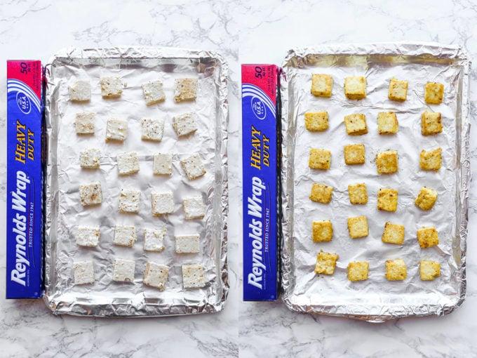 tofu on baking sheet