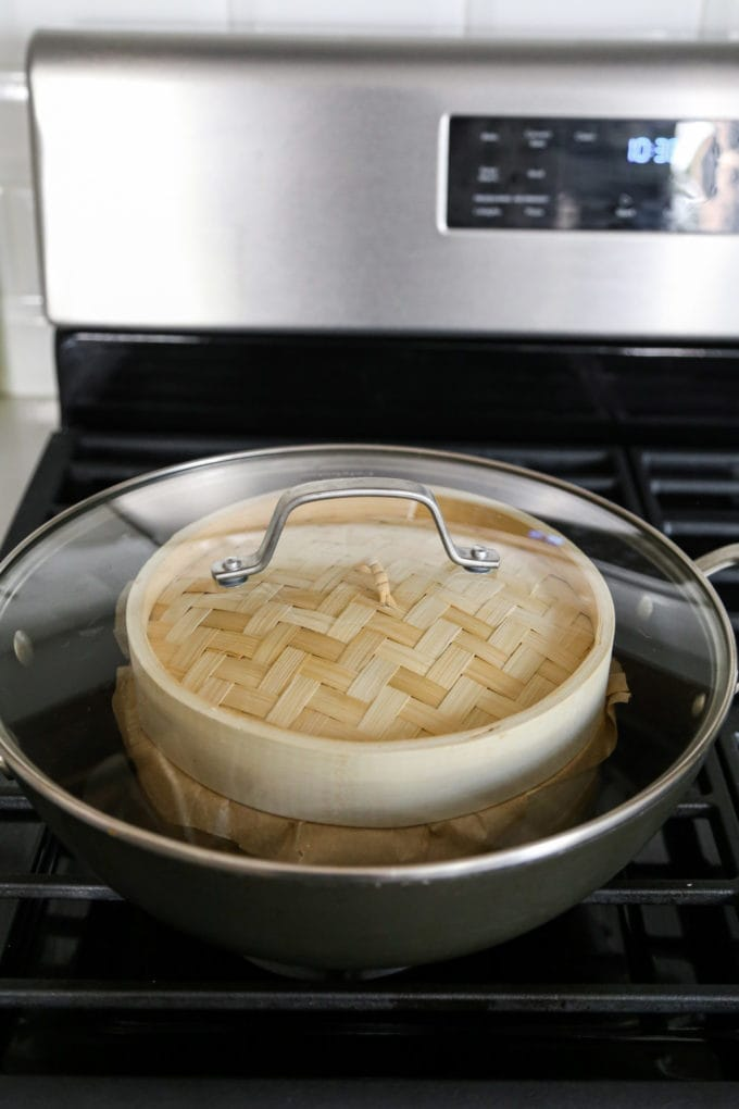 bamboo steamer on the stove