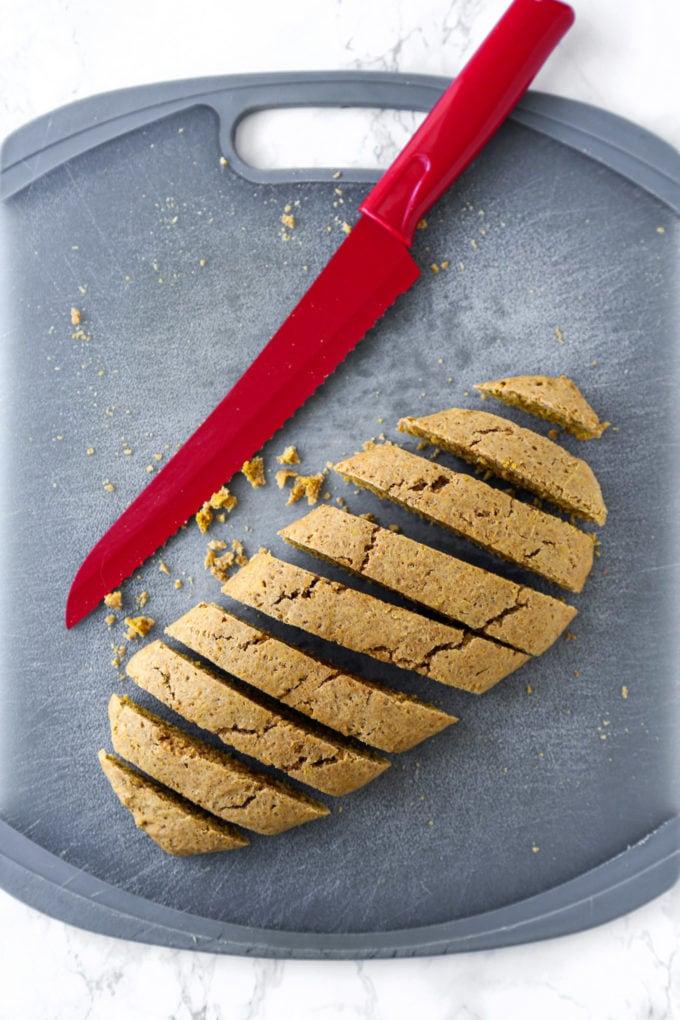 Slicing biscotti loaf
