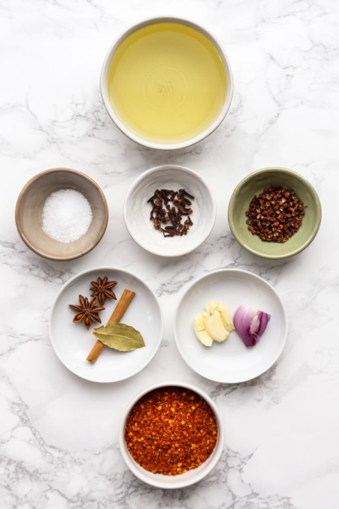 Ingredients for chili oil