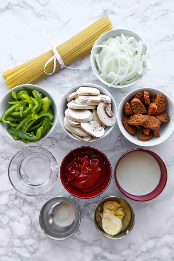 Ingredients for spaghetti napolitan