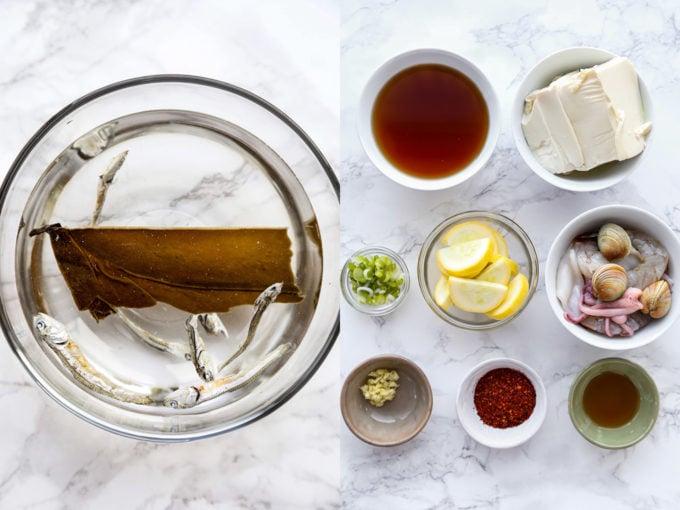 Ingredients for soondubu