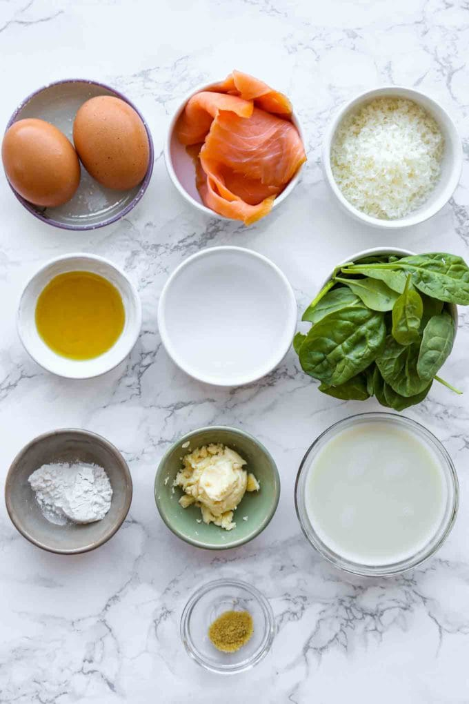 ingredients for smoked salmon omelette