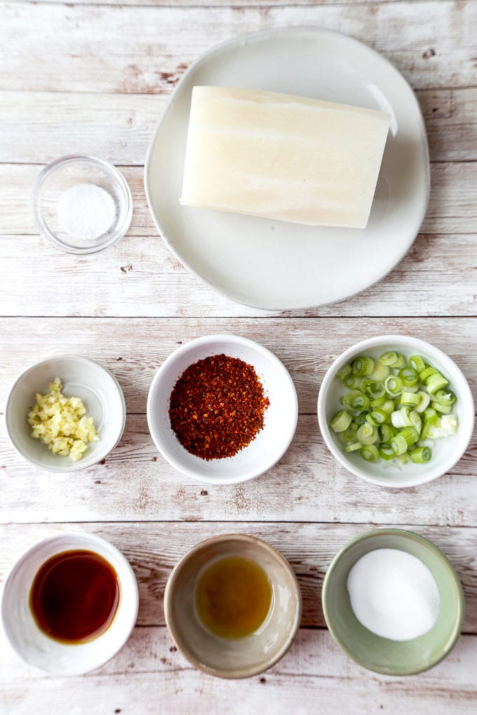 Ingredients for Korean Spicy Daikon Radish Salad