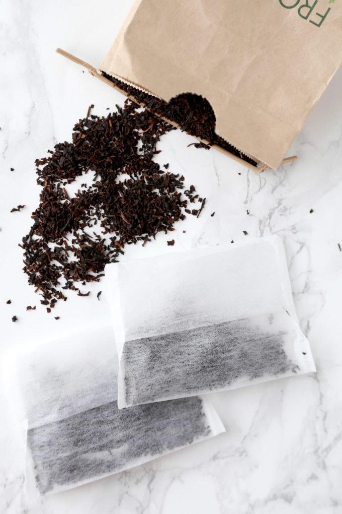 loose tea leaves with tea bags