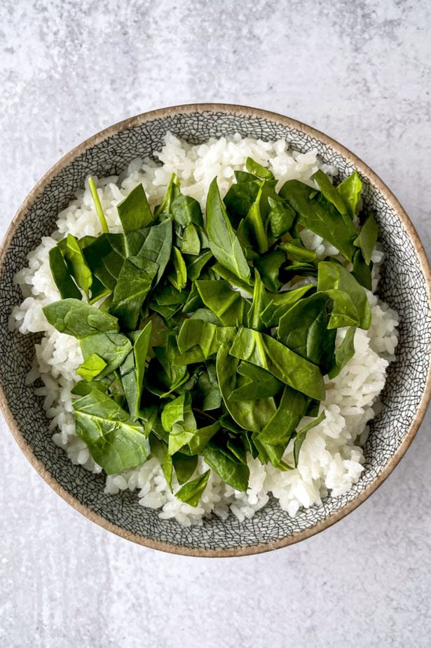 Spinach rice bowl