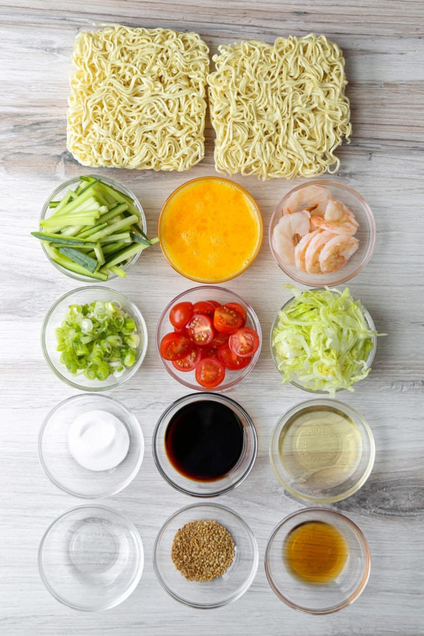 Ingredients for hiyashi chuka